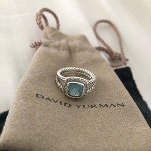 David Yurman Petite Albion Blue Topaz Size 6